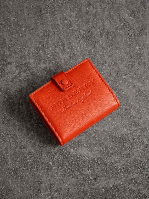Embossed Leather Folding Wallet in Dark Clementine