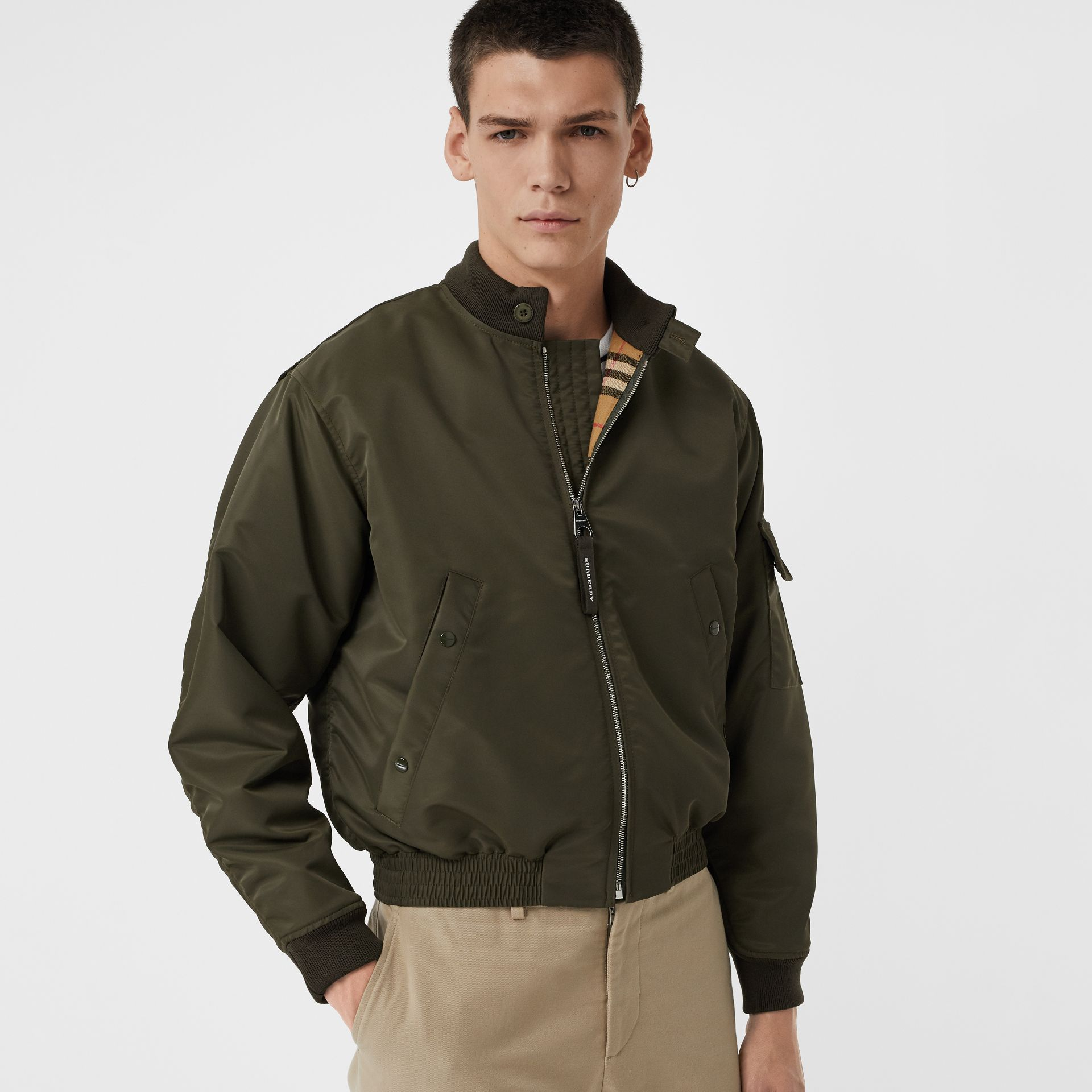 Padded Nylon Bomber Jacket in Dark Olive - Men | Burberry Australia - gallery image 4