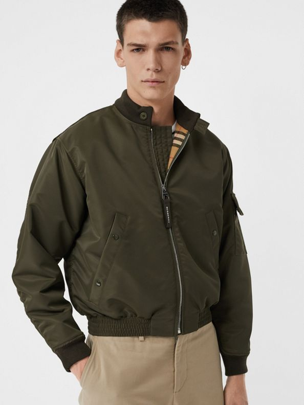 Padded Nylon Bomber Jacket in Dark Olive