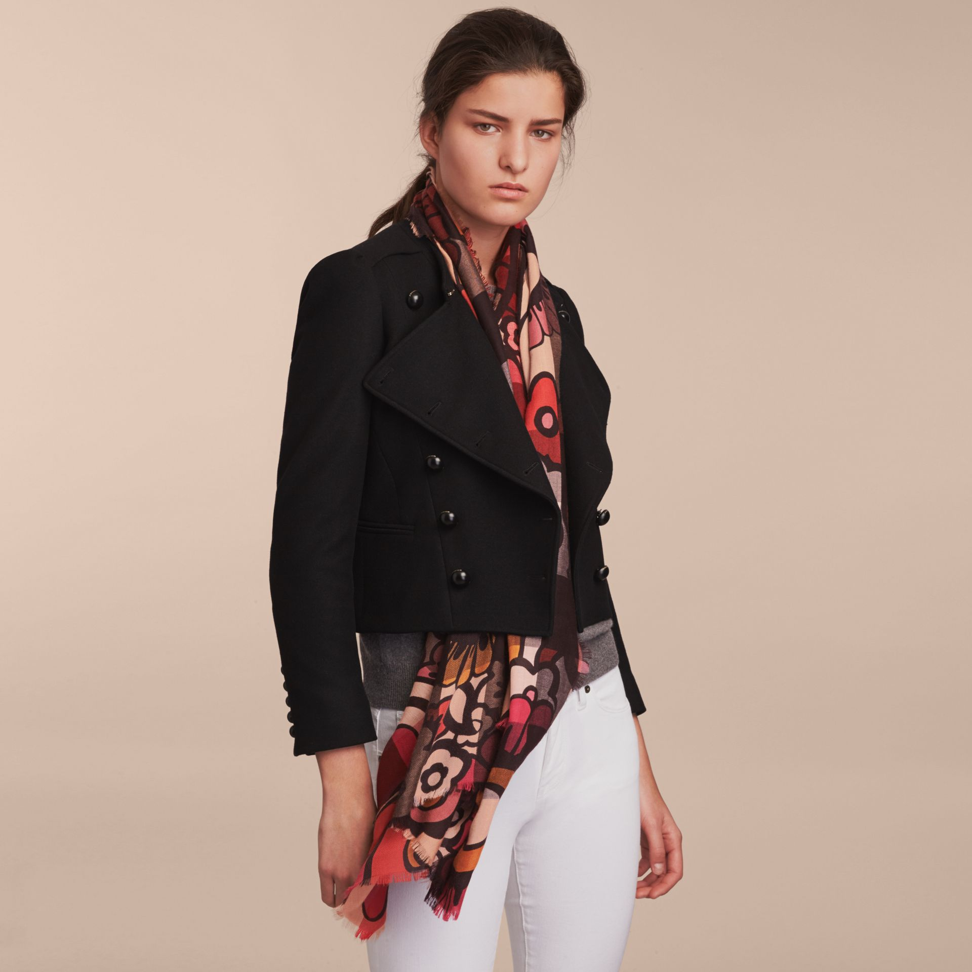 The Lightweight Cashmere Scarf in Check and Floral Print - gallery image 3