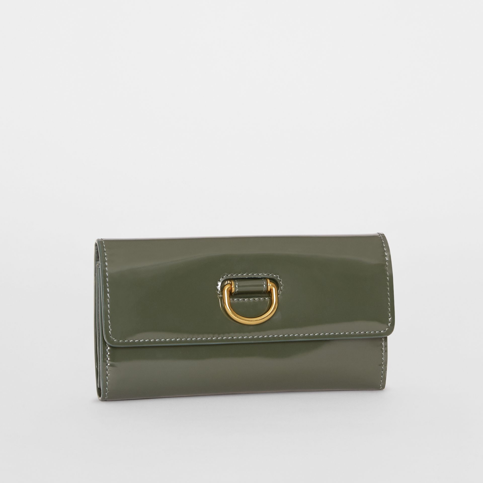 D-ring Patent Leather Continental Wallet in Dark Forest Green - Women | Burberry United States - gallery image 4
