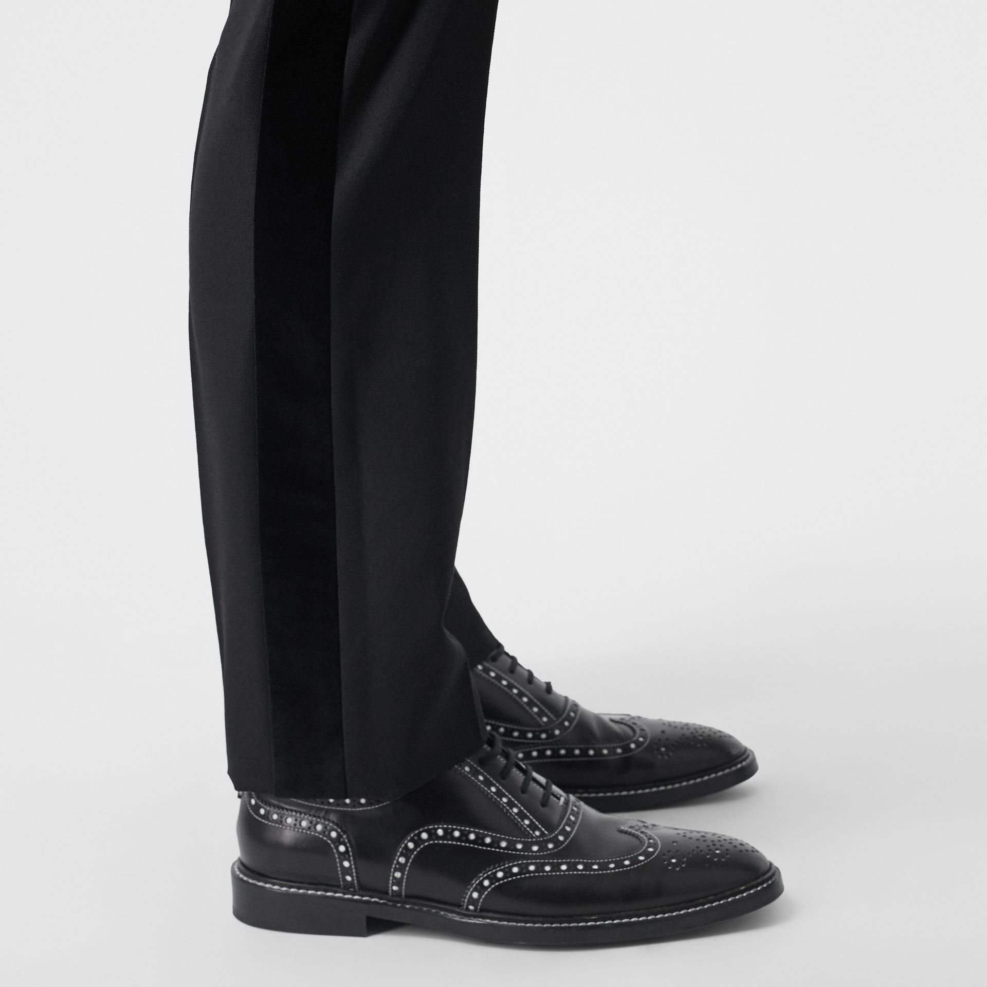 Classic Fit Velvet Trim Wool Tailored Trousers in Black - Men | Burberry - gallery image 4