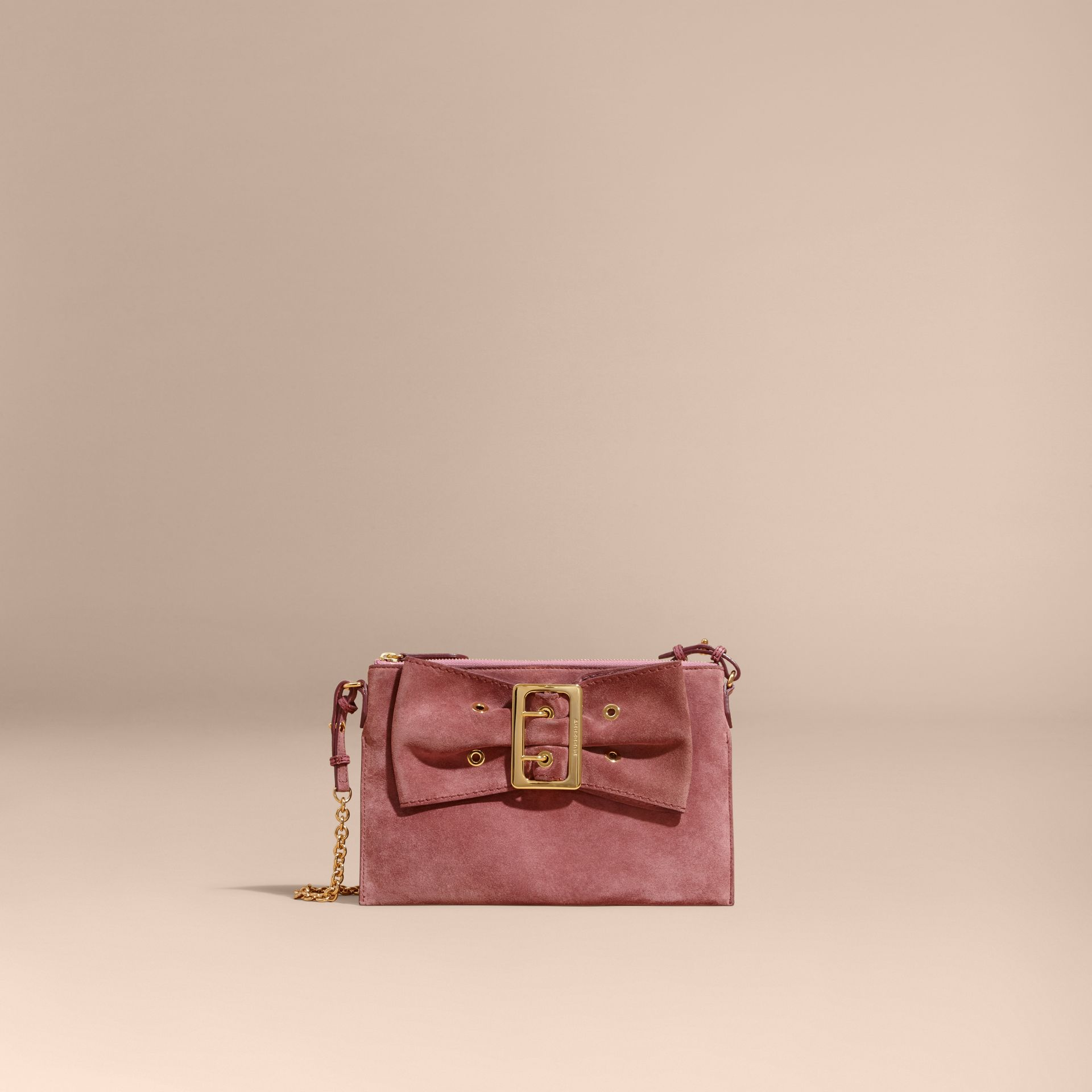 Dusty pink Suede Clutch Bag with Buckled Bow Detail Dusty Pink - gallery image 9