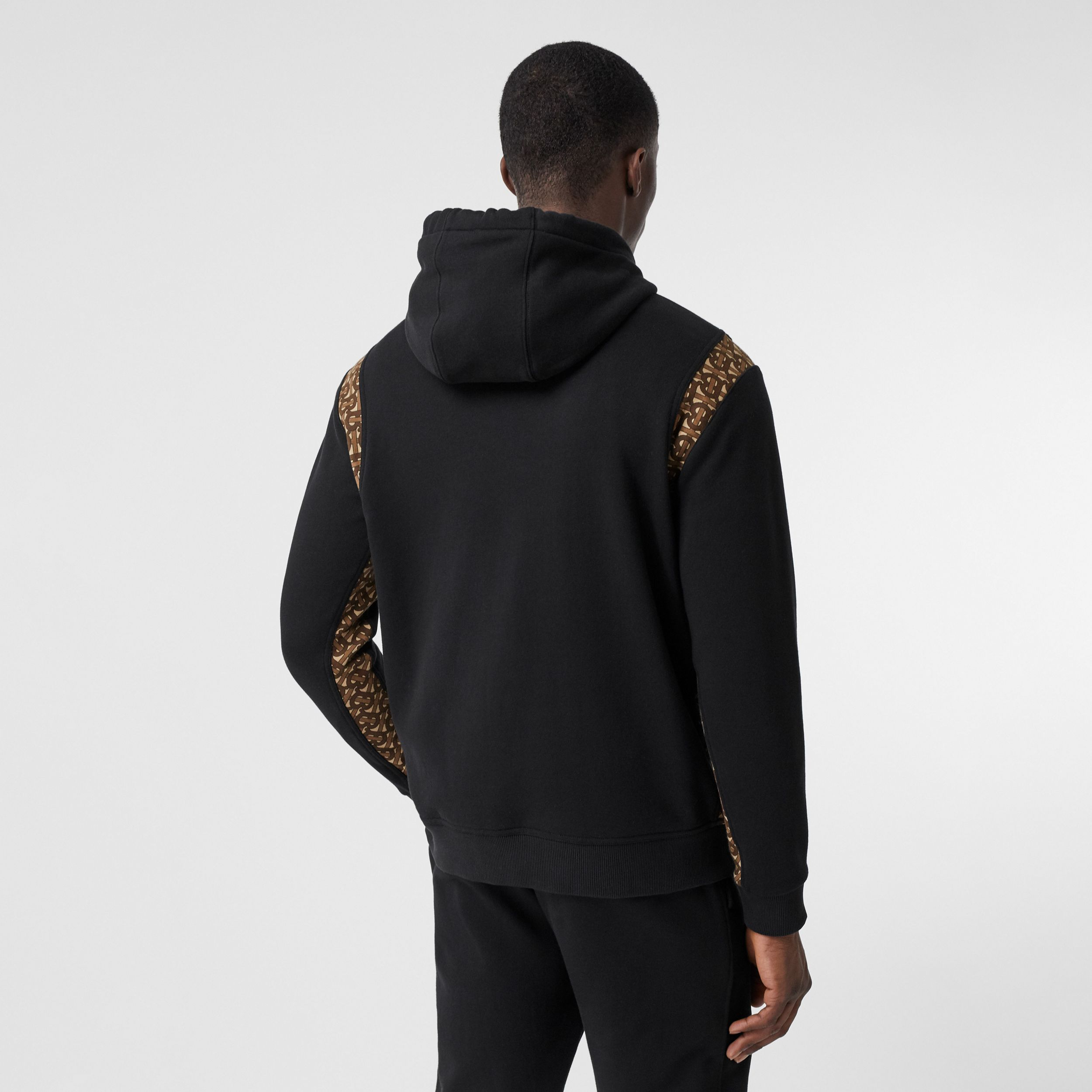 Monogram Print Panel Cotton Hoodie in Black - Men | Burberry - 3