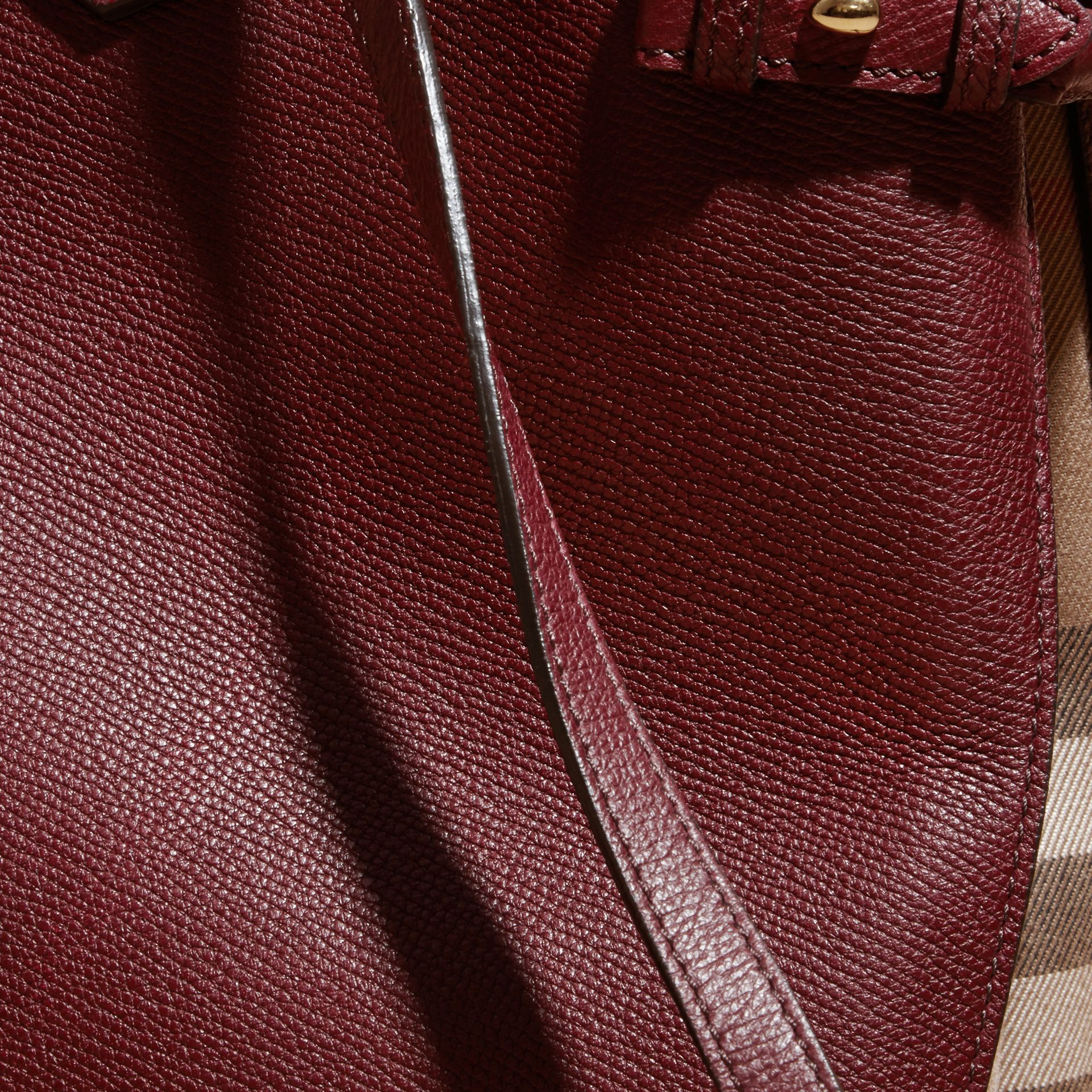 The Large Banner in Leather and House Check Mahogany Red - gallery image 6