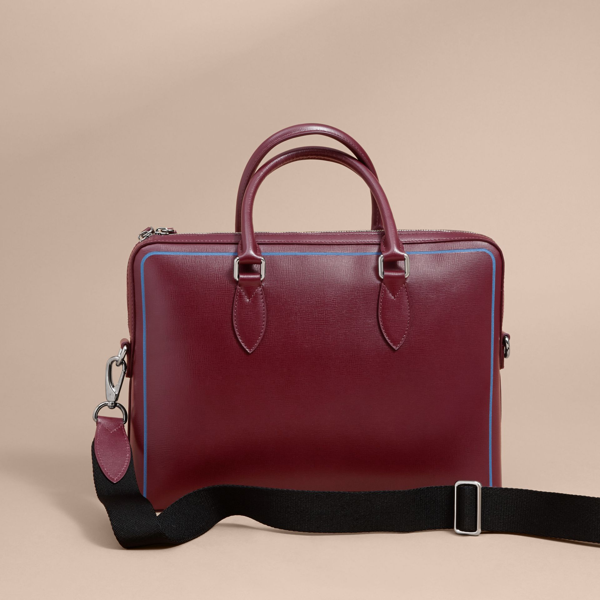 The Slim Barrow Bag in London Leather with Border Detail Burgundy Red - gallery image 5