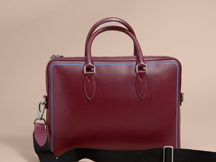 The Slim Barrow Bag in London Leather with Border Detail in Burgundy Red - cell image 4