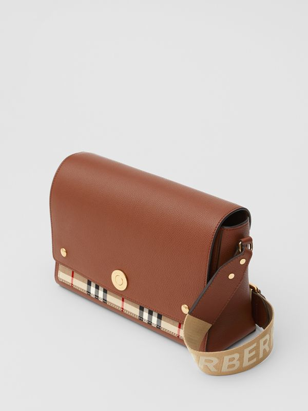 Leather and Vintage Check Note Crossbody Bag in Tan - Women | Burberry United Kingdom - cell image 3