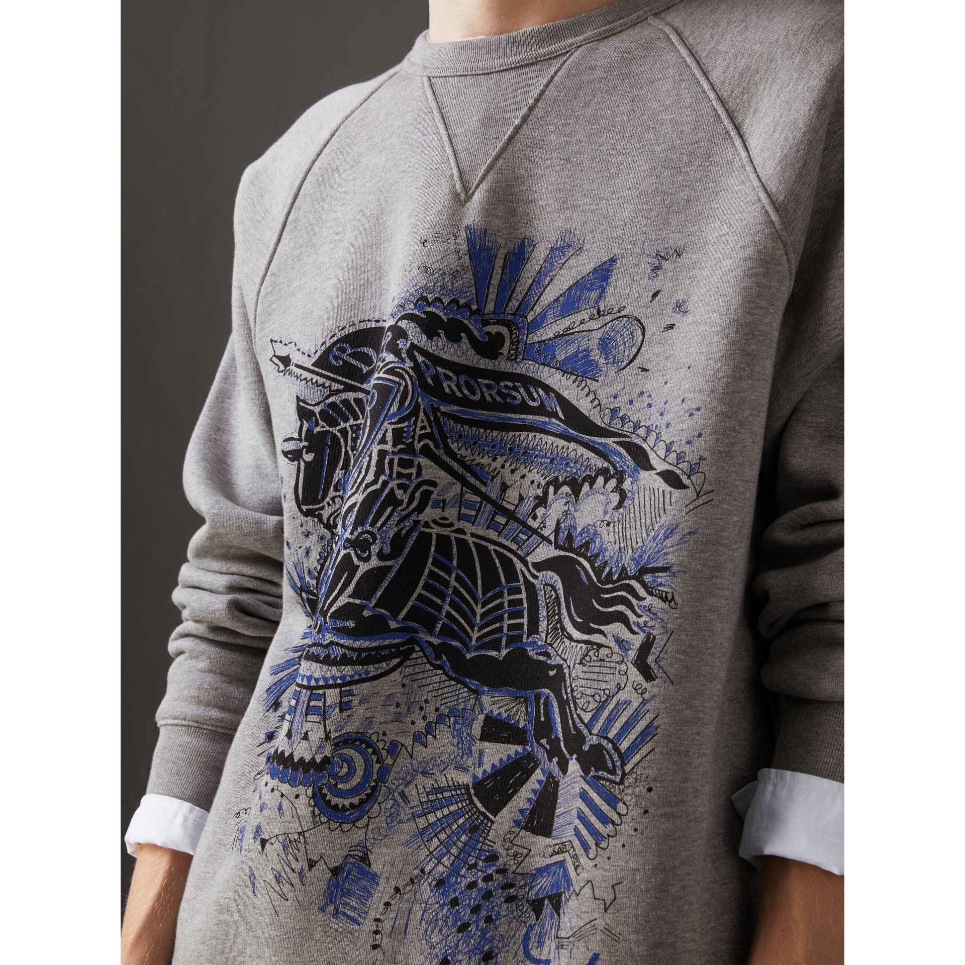 Doodle and Equestrian Knight Print Sweatshirt in Pale Grey Melange - Men | Burberry United Kingdom - gallery image 1