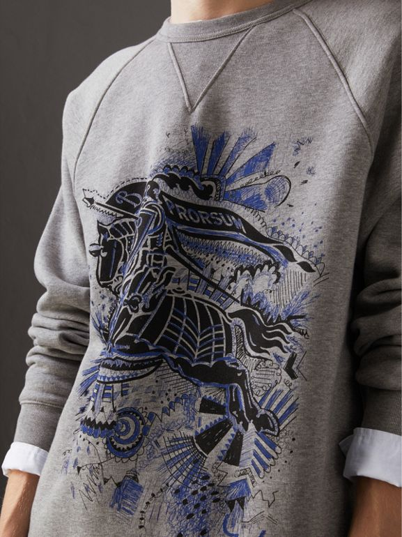 Doodle and Equestrian Knight Print Sweatshirt in Pale Grey Melange - Men | Burberry United Kingdom - cell image 1