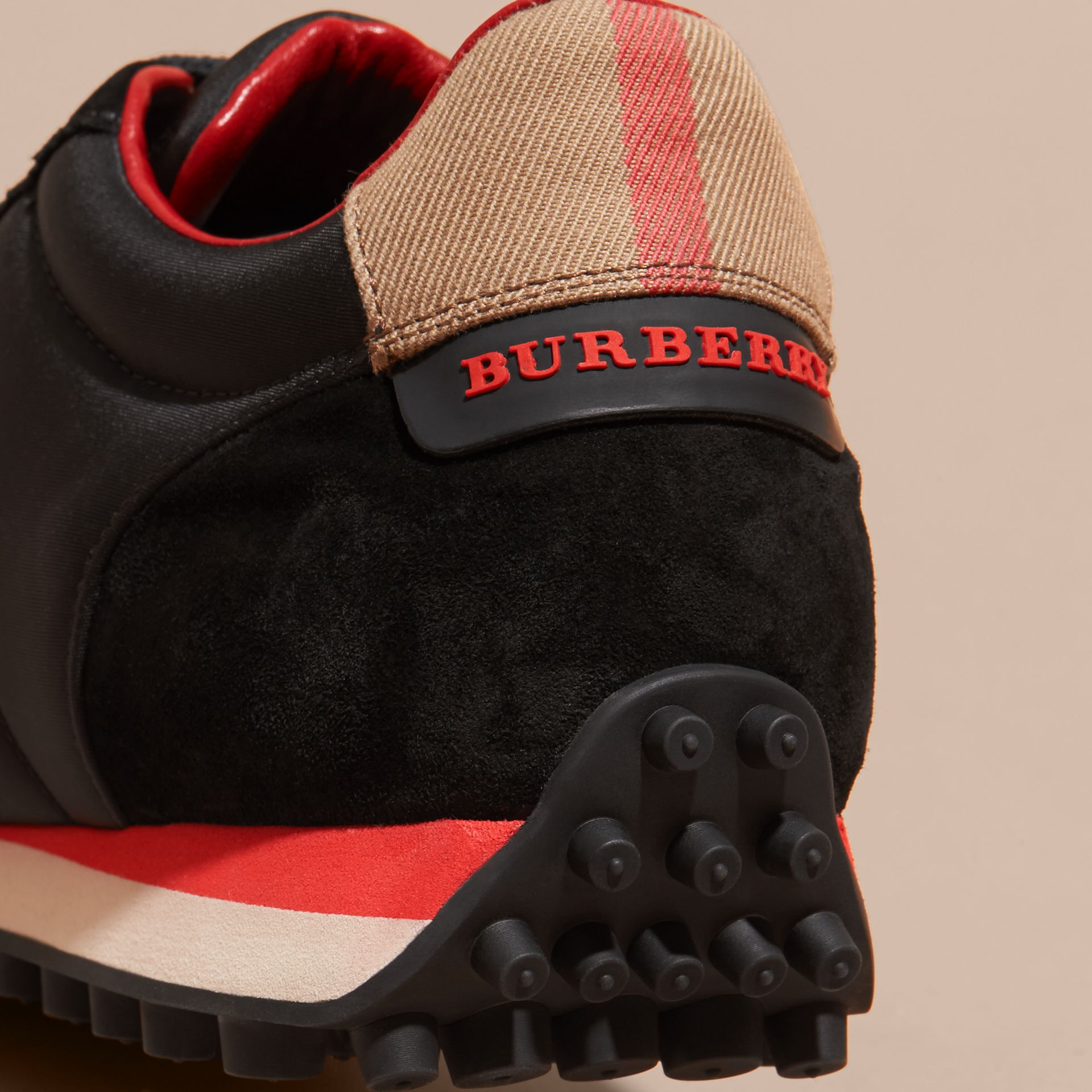 House Check Trim Suede and Technical Satin Sneakers in Black - Men | Burberry - gallery image 2
