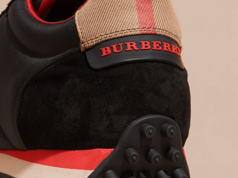 House Check Trim Suede and Technical Satin Sneakers in Black - Men | Burberry - cell image 1