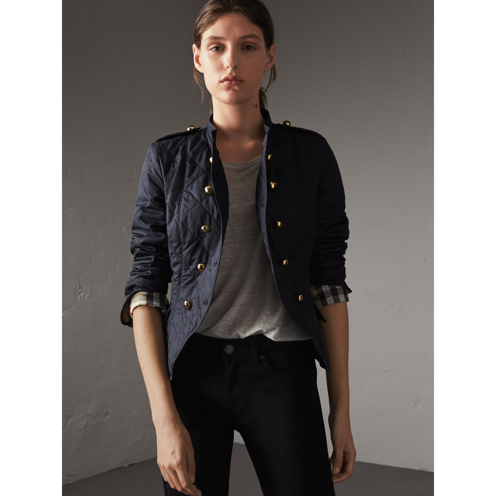 Double-breasted Quilted Military Jacket in Navy - Women | Burberry - gallery image 1