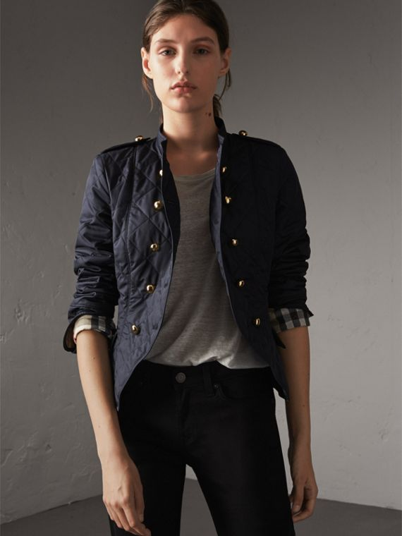 Double-breasted Quilted Military Jacket in Navy - Women | Burberry Australia