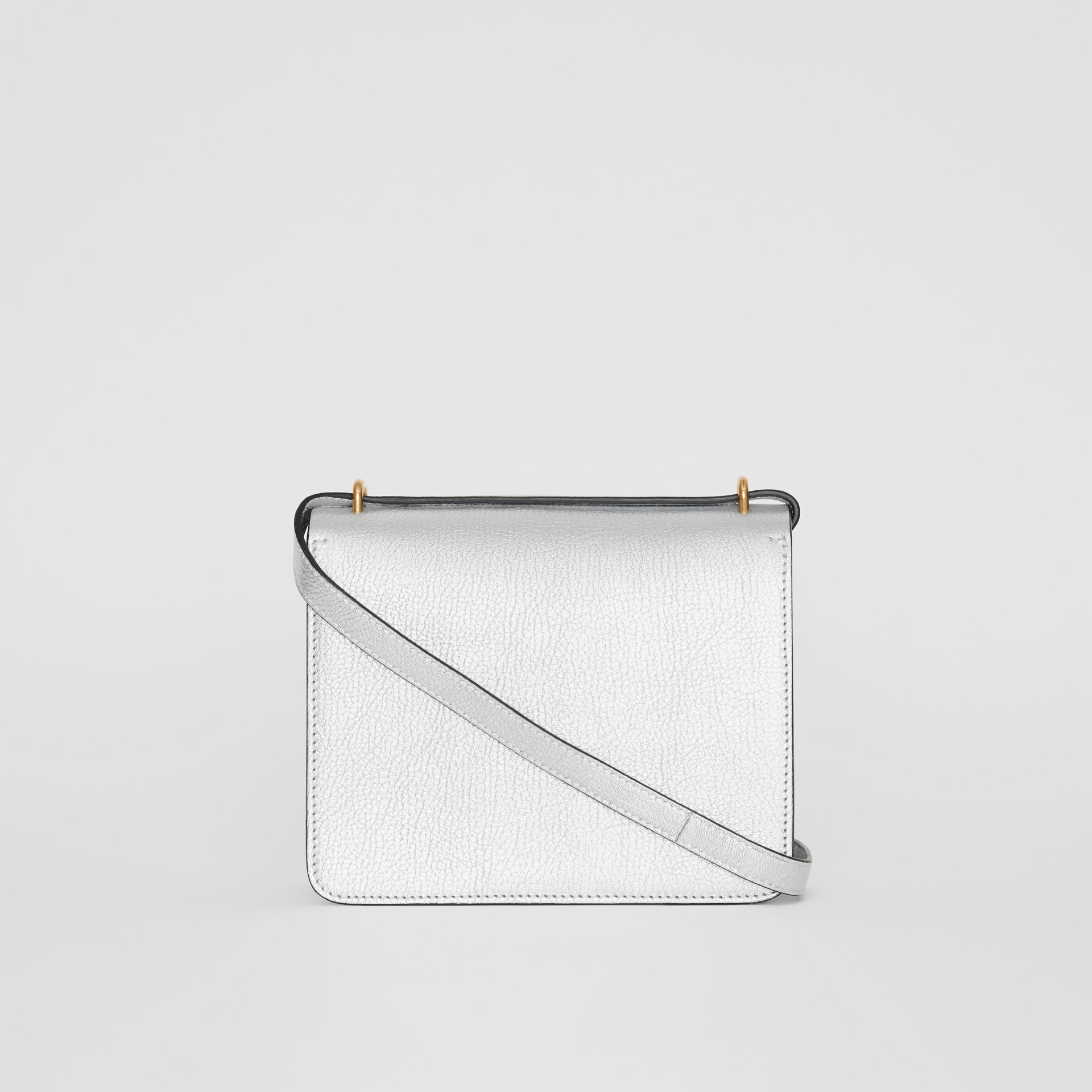 The Small Metallic Leather D-ring Bag in Silver - Women | Burberry - gallery image 7
