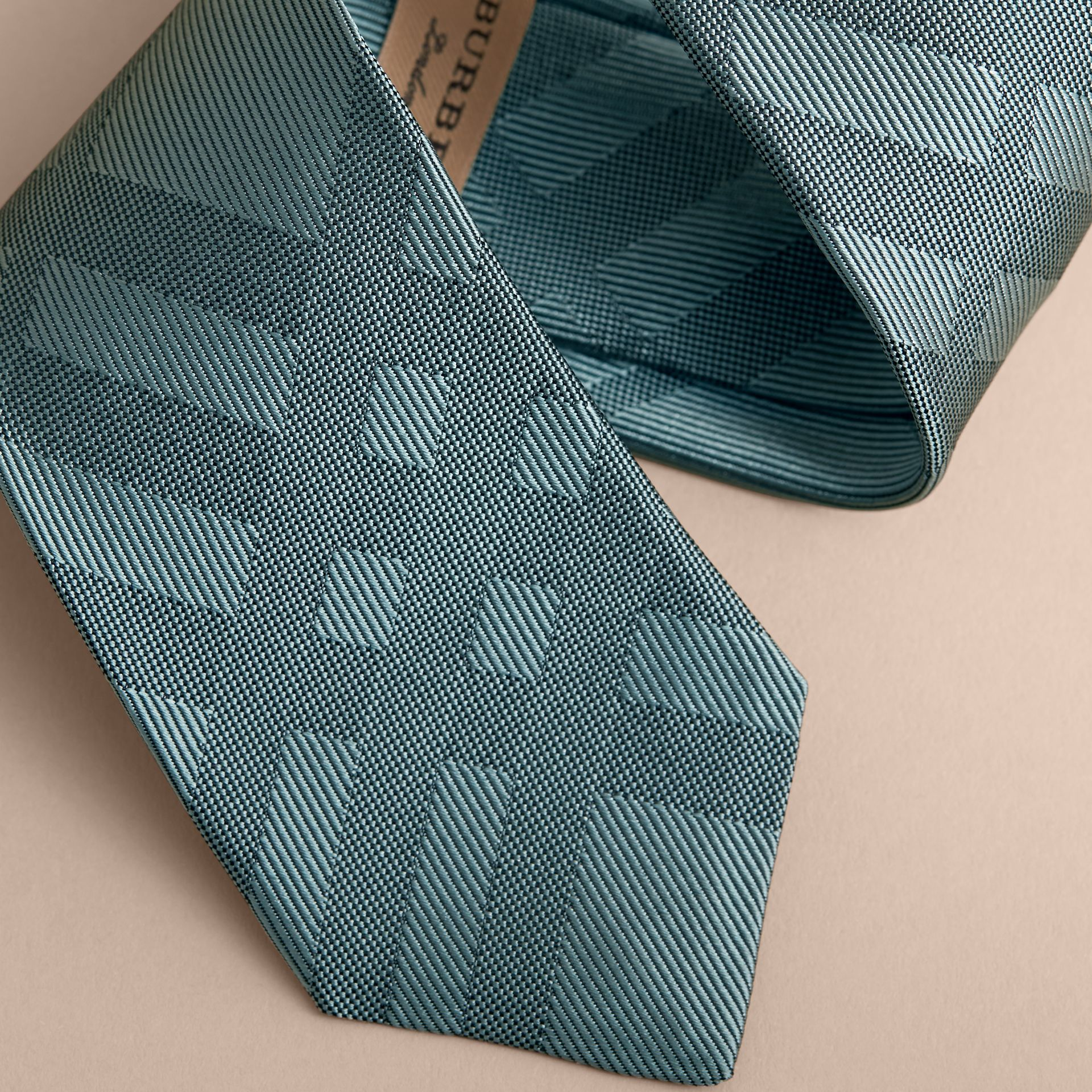 Slim Cut Check Silk Tie in Sea Green - Men | Burberry - gallery image 2