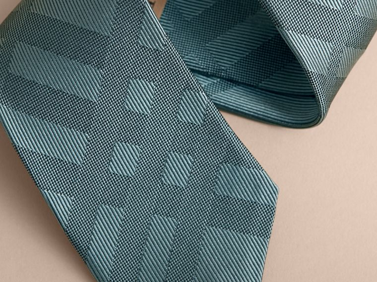 Slim Cut Check Silk Tie in Sea Green - Men | Burberry - cell image 1
