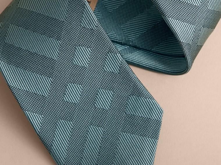 窄版剪裁格紋絲質領帶 (海洋綠) - 男款 | Burberry - cell image 1