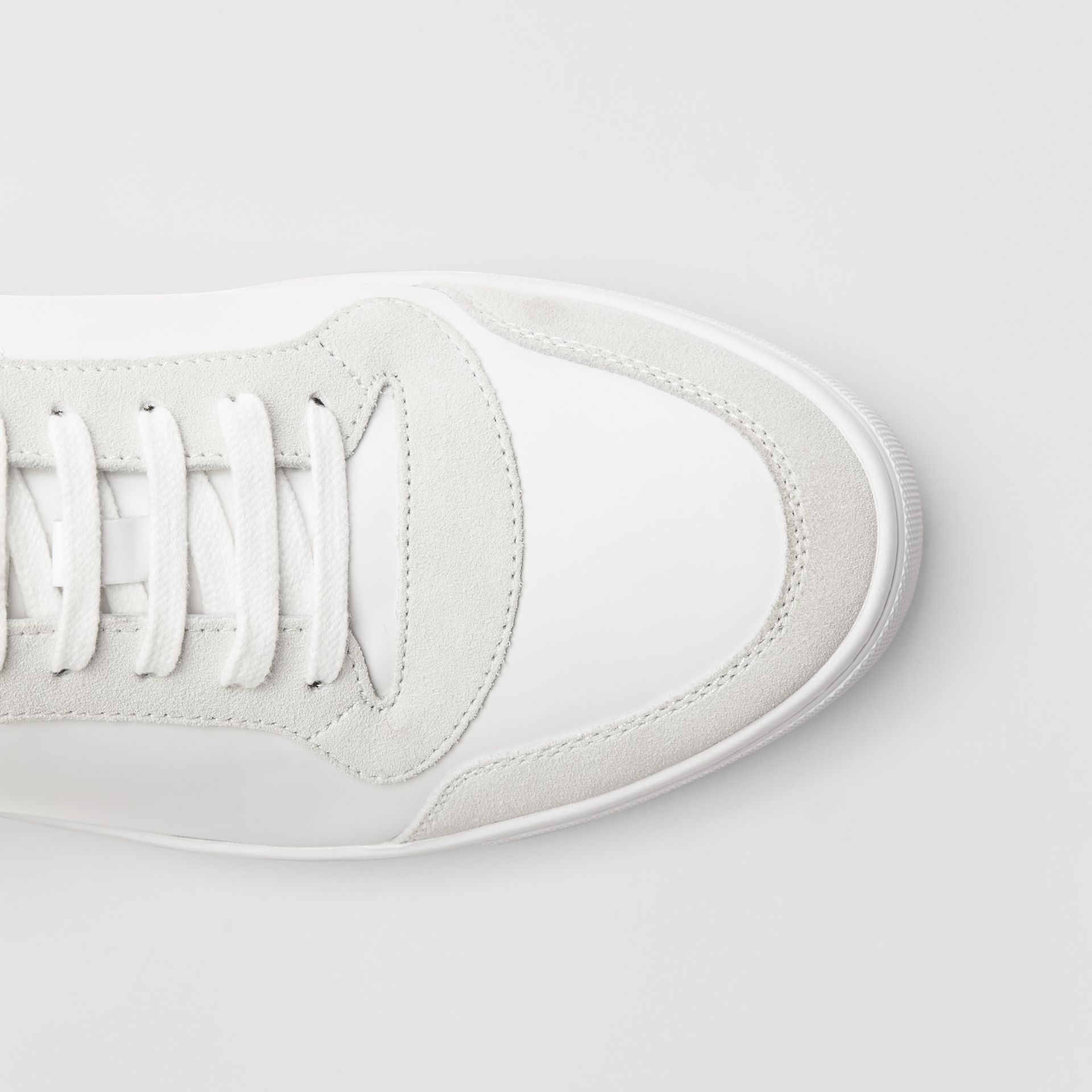 Leather and House Check Sneakers in Optic White - Men | Burberry Canada - gallery image 1