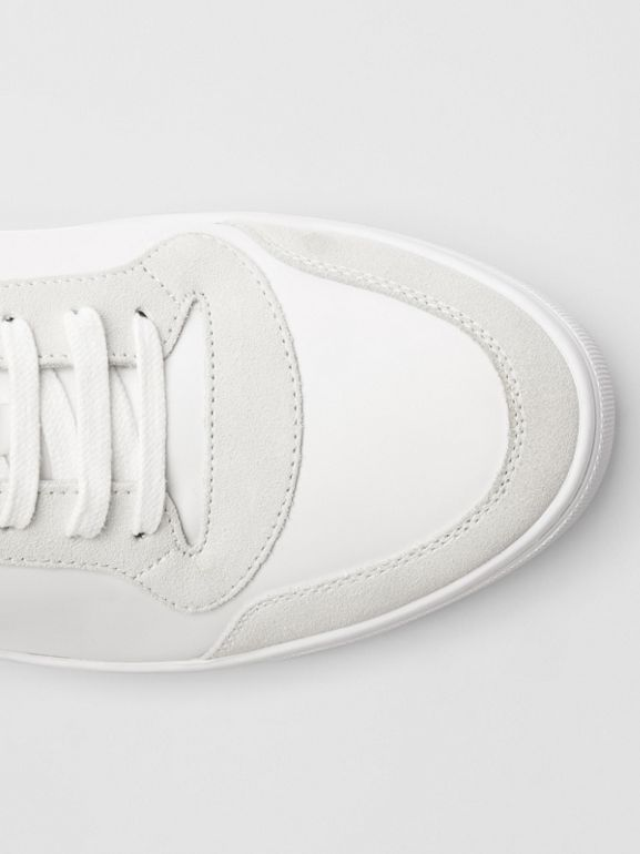 Leather and House Check Sneakers in Optic White - Men | Burberry - cell image 1