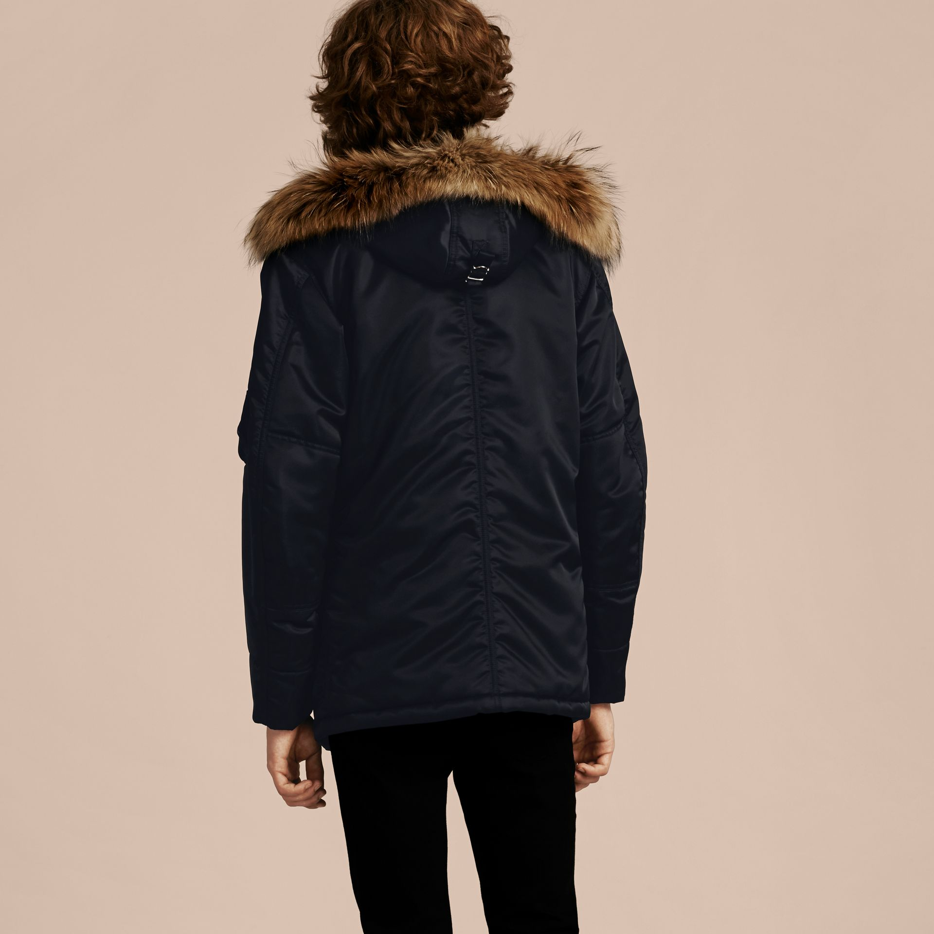 Navy Hooded Parka with Detachable Raccoon Trim - gallery image 3