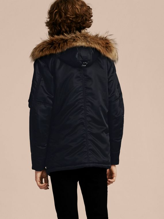 Navy Hooded Parka with Detachable Raccoon Trim - cell image 2