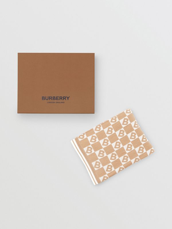 B Motif Cotton Merino Wool Cashmere Baby Blanket in Light Camel - Children | Burberry Singapore - cell image 3