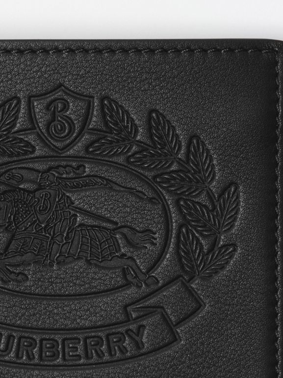 Embossed Crest Leather International Bifold Wallet in Black - Men | Burberry - cell image 1