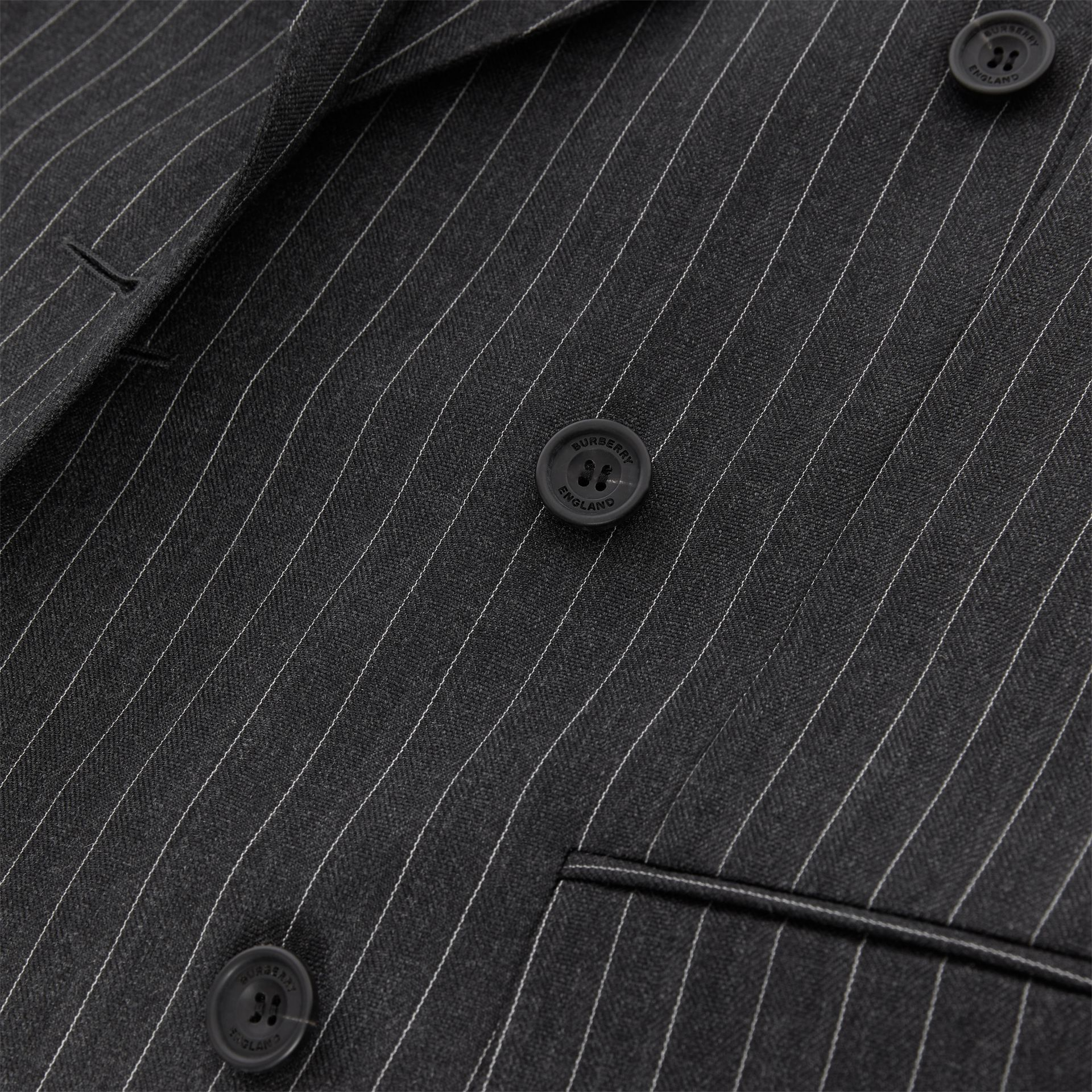 English Fit Pinstriped Wool Double-breasted Suit in Charcoal - Men | Burberry - gallery image 8