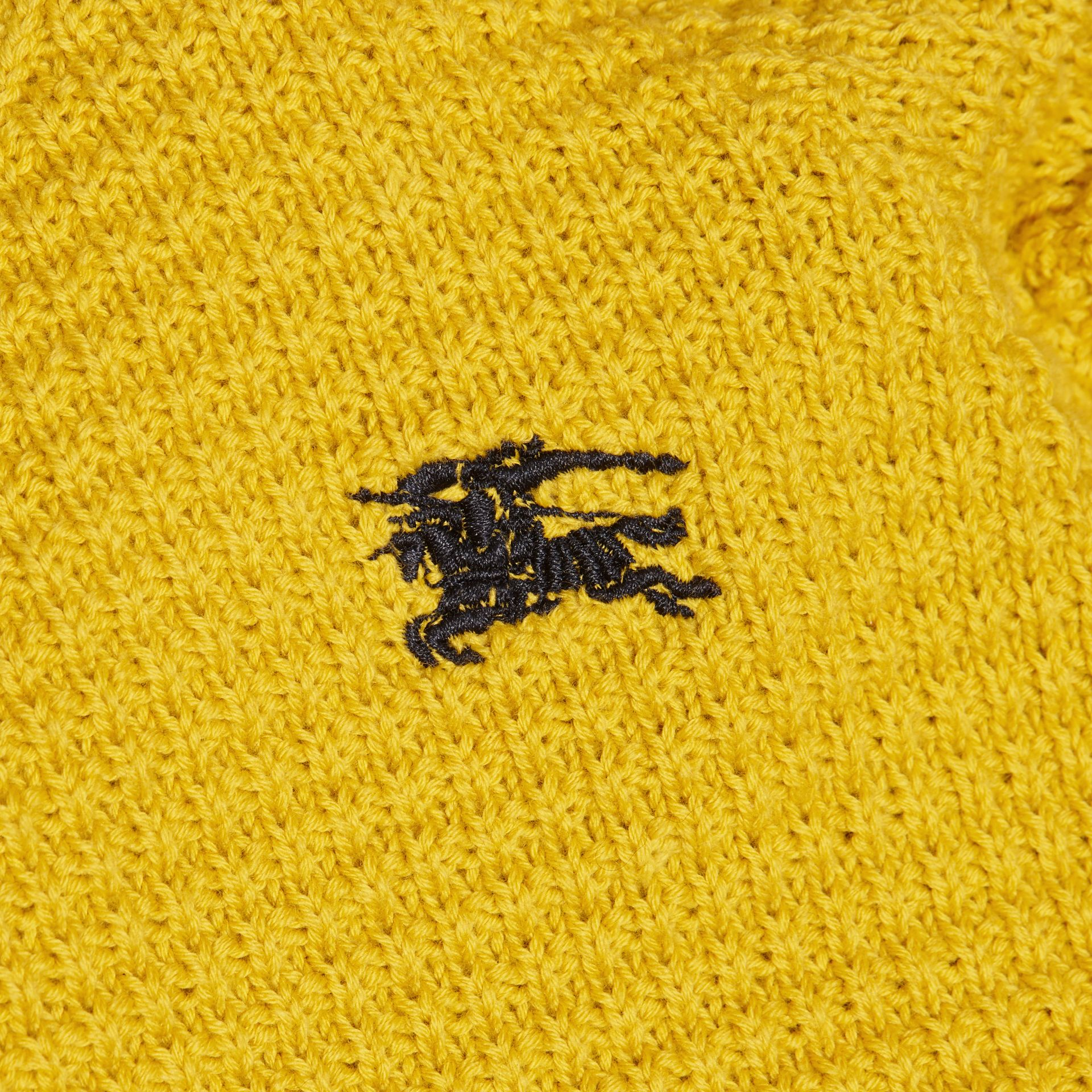 Waffle Knit Cotton Sweater in Bright Yellow - gallery image 2