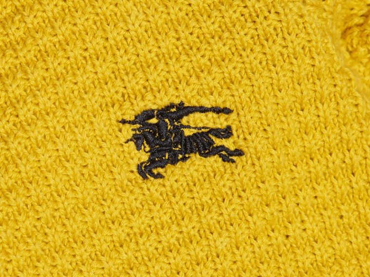Waffle Knit Cotton Sweater Bright Yellow - cell image 1