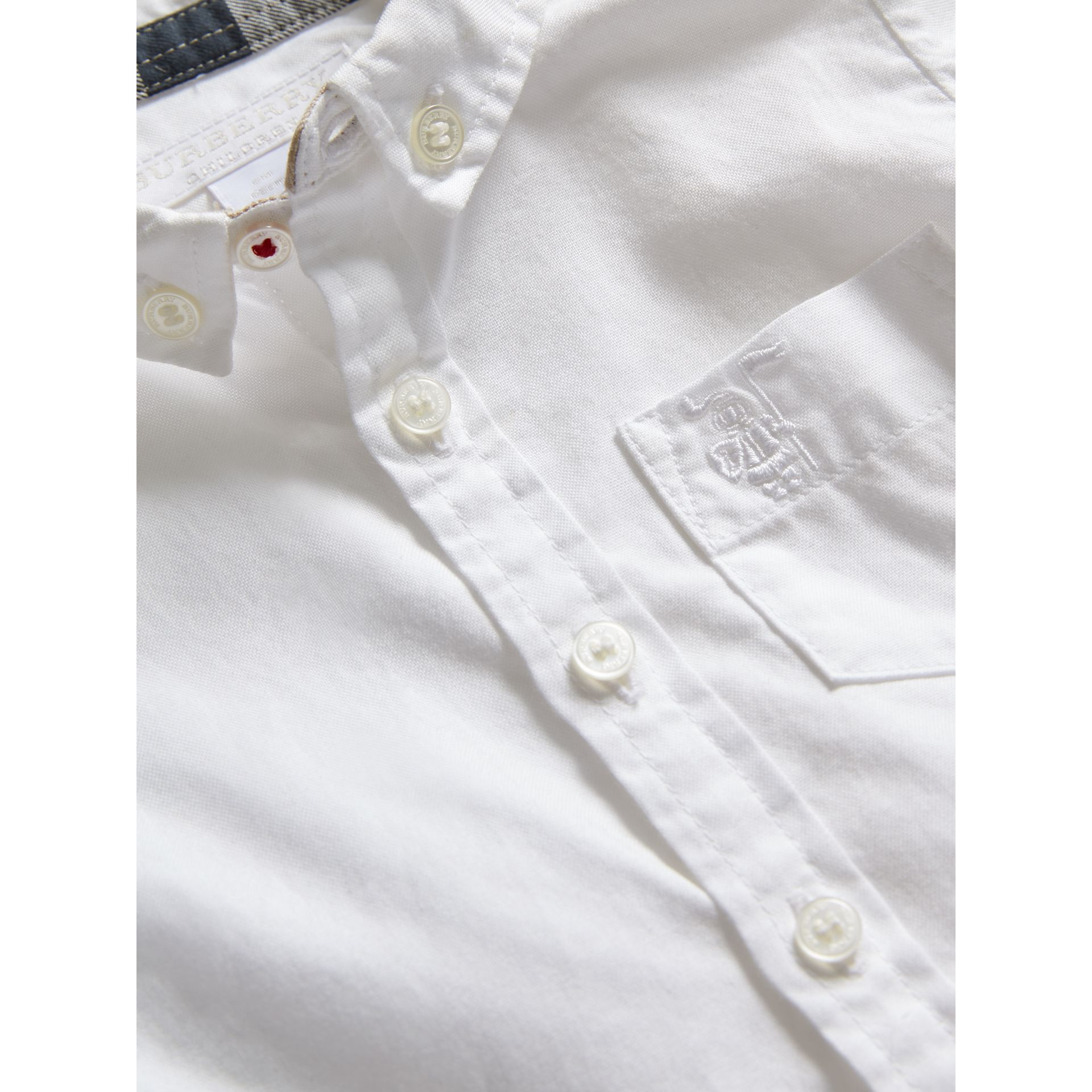 Button-down Collar Cotton Oxford Shirt in White - Children | Burberry - gallery image 1