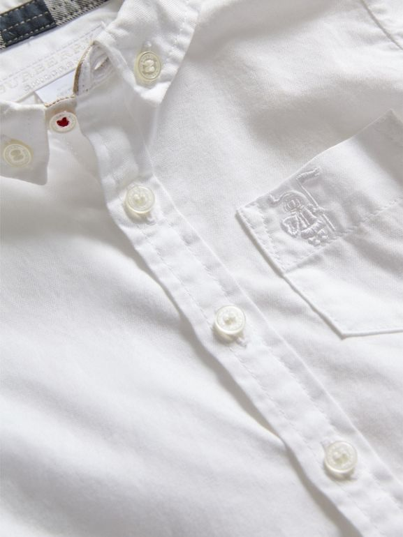 Button-down Collar Cotton Oxford Shirt in White - Children | Burberry - cell image 1