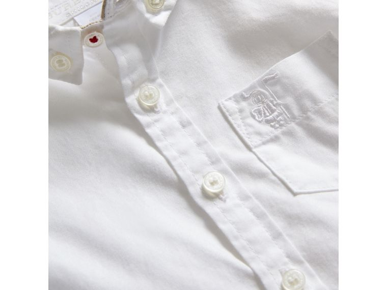 Button-down Collar Cotton Oxford Shirt in White | Burberry United States - cell image 1