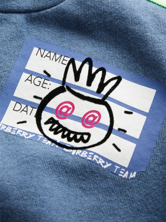 Sticker Print Cotton Sweatshirt in Blue Melange - Children | Burberry - cell image 1