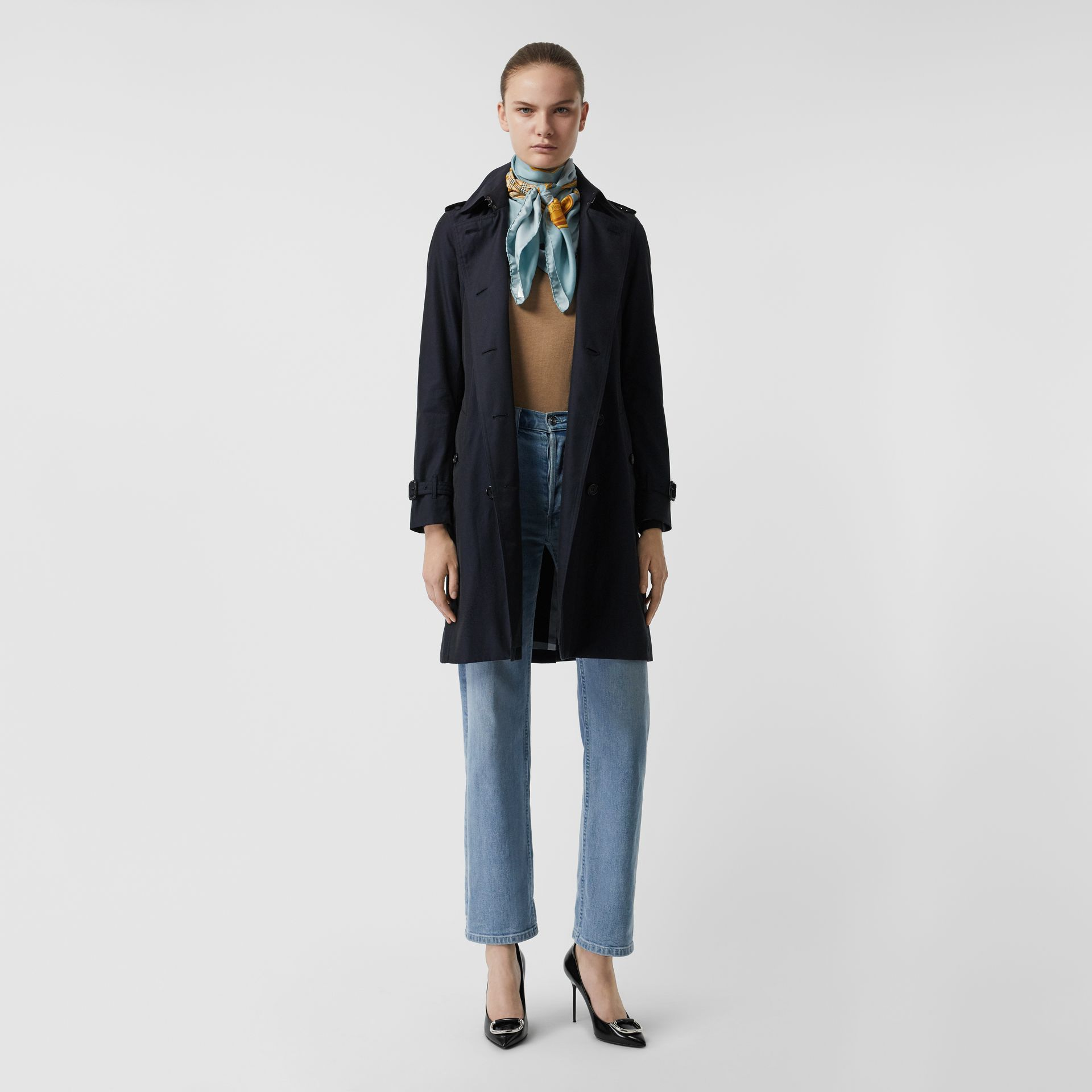 Kensington Fit Cotton Gabardine Trench Coat in Blue Carbon - Women | Burberry - gallery image 0