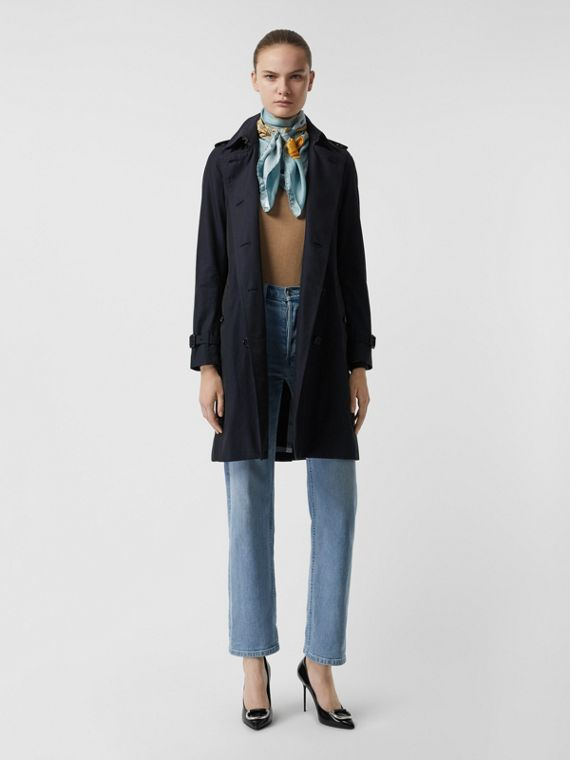 Kensington Fit Cotton Gabardine Trench Coat in Blue Carbon
