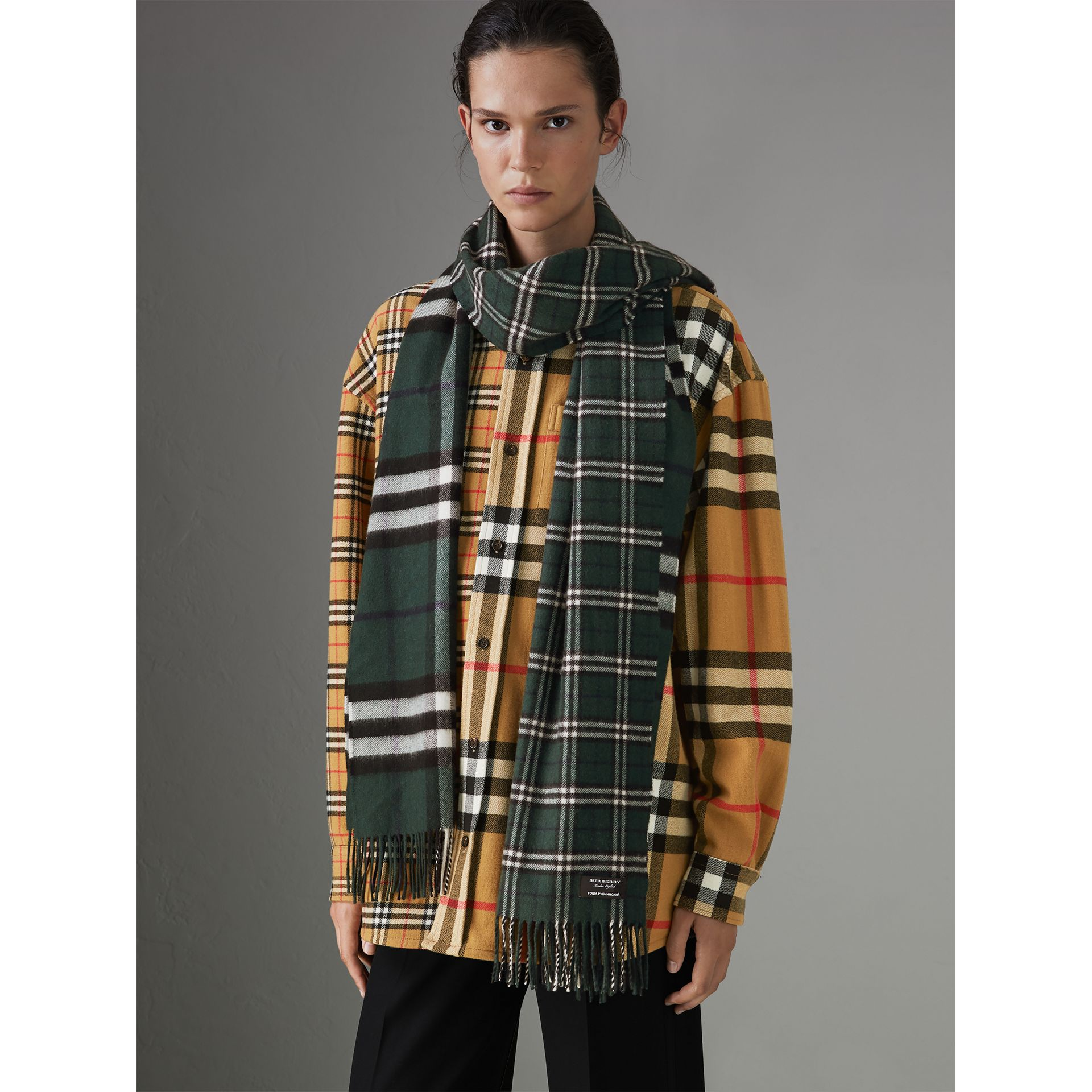 Gosha x Burberry Check Cashmere Double Scarf in Dark Forest Green | Burberry - gallery image 4