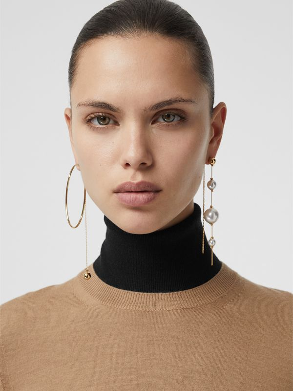 Faux Pearl and Oval Gold-plated Drop Earrings in Light - Women | Burberry Canada - cell image 2