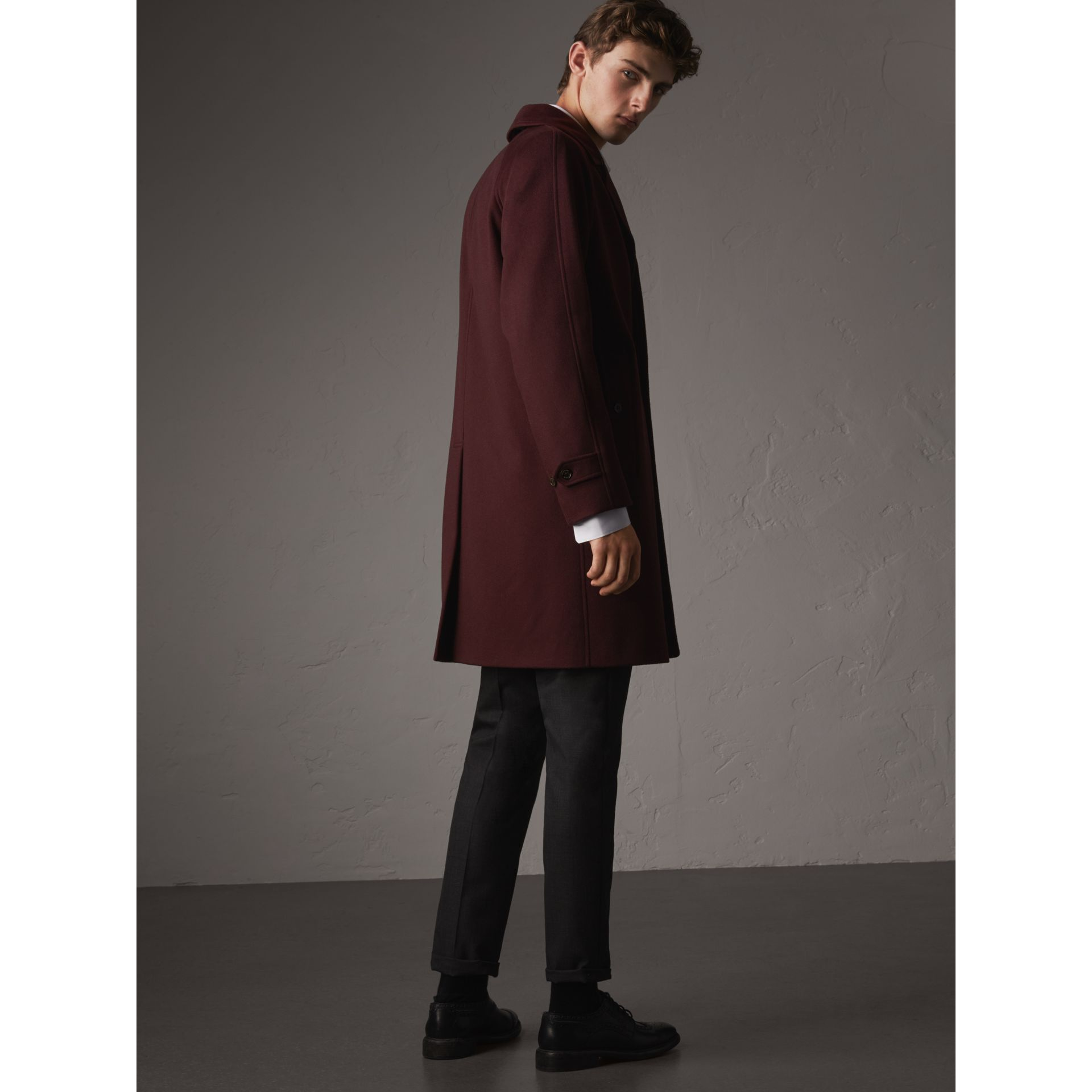 Cashmere Car Coat in Deep Claret Melange - Men | Burberry - gallery image 3
