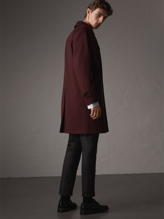Cashmere Car Coat in Deep Claret Melange - Men | Burberry Hong Kong - cell image 2