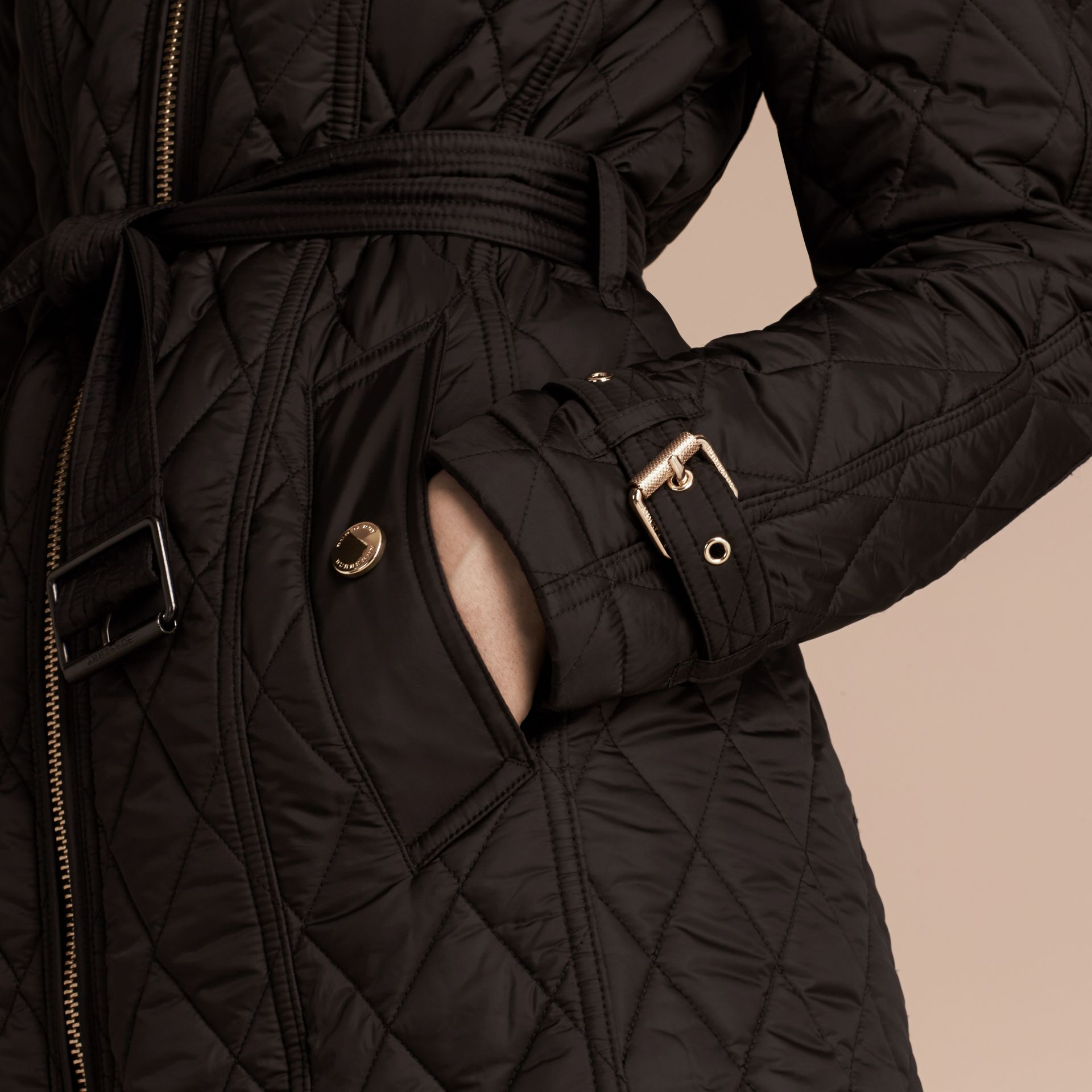 Diamond Quilted Showerproof Parka - gallery image 2