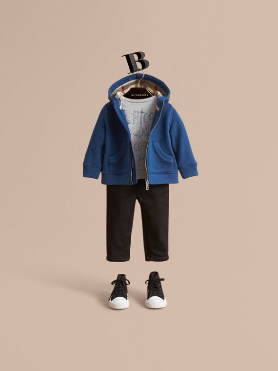 Check Detail Hooded Cotton Top in Marine Blue | Burberry