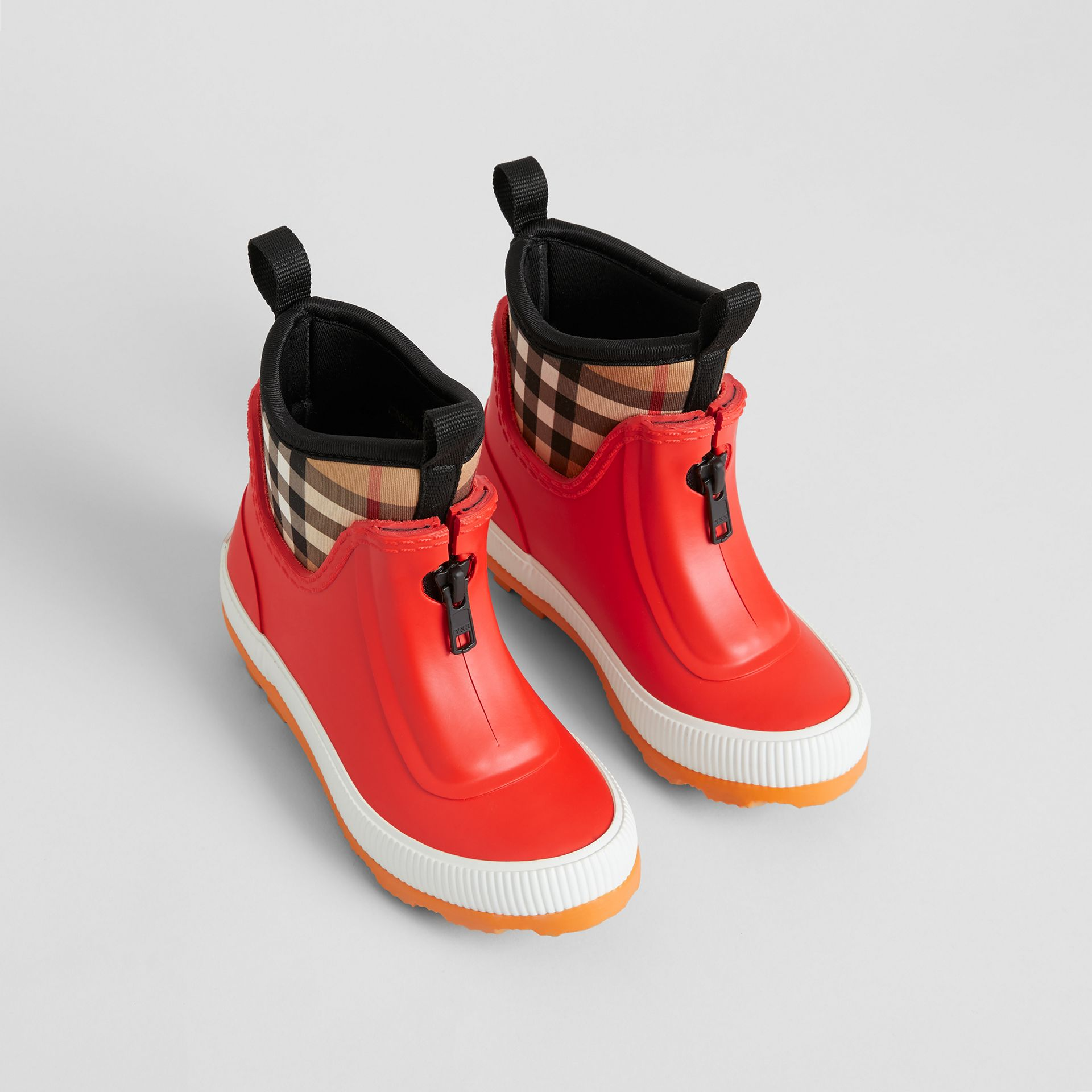 Vintage Check Neoprene and Rubber Rain Boots in Bright Red | Burberry Australia - gallery image 0