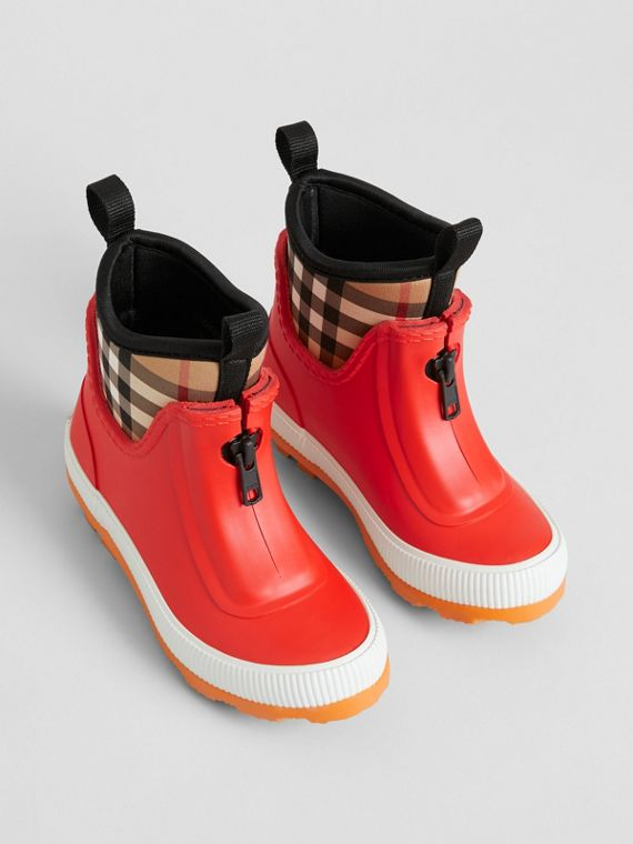 Vintage Check Neoprene and Rubber Rain Boots in Bright Red