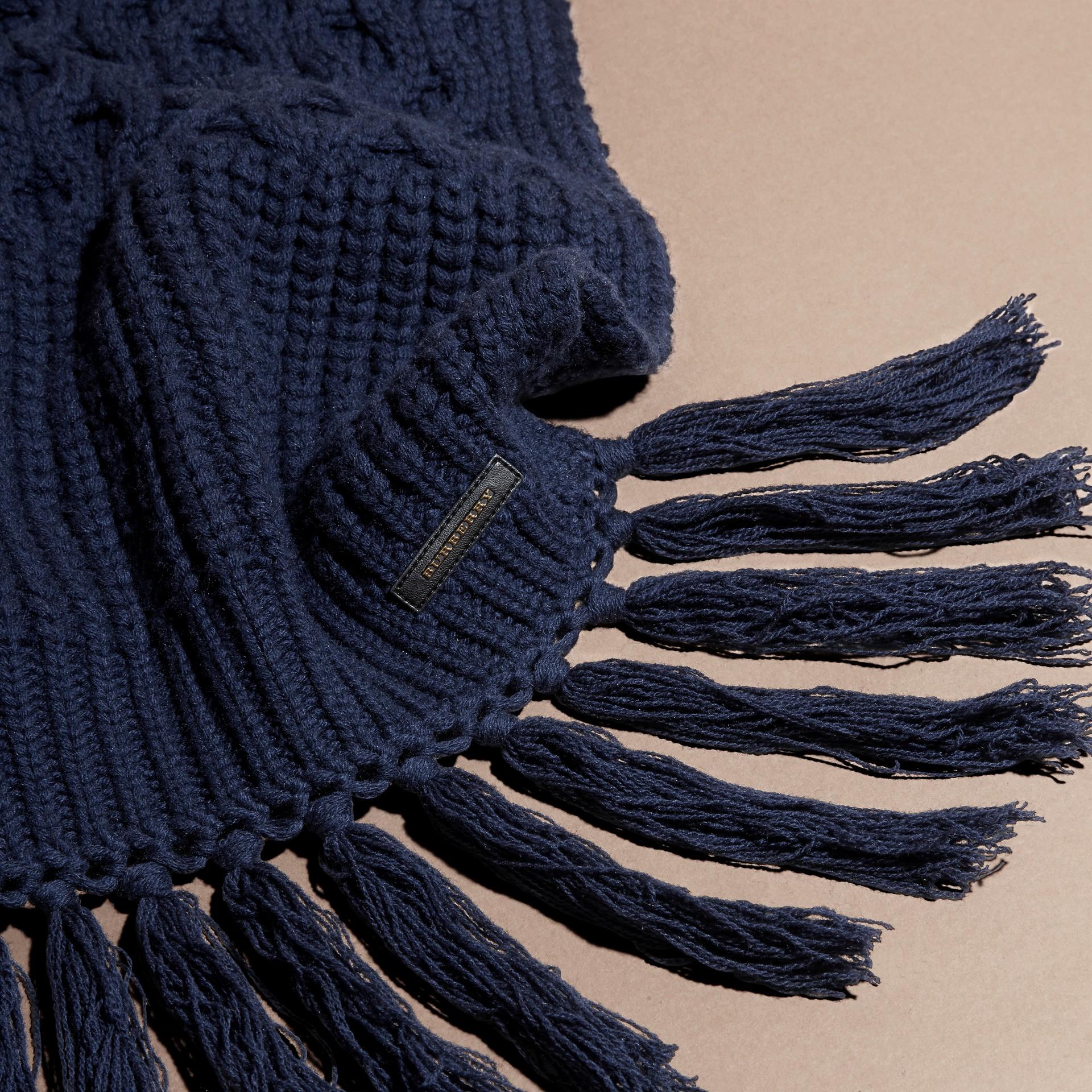 Dark navy Oversize Aran Knit Wool Cashmere Scarf - gallery image 2