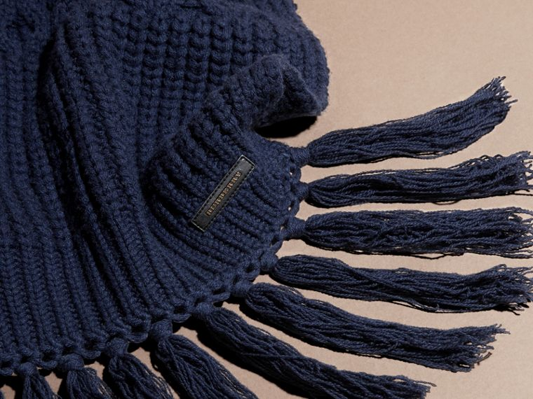 Dark navy Oversize Aran Knit Wool Cashmere Scarf Dark Navy - cell image 1