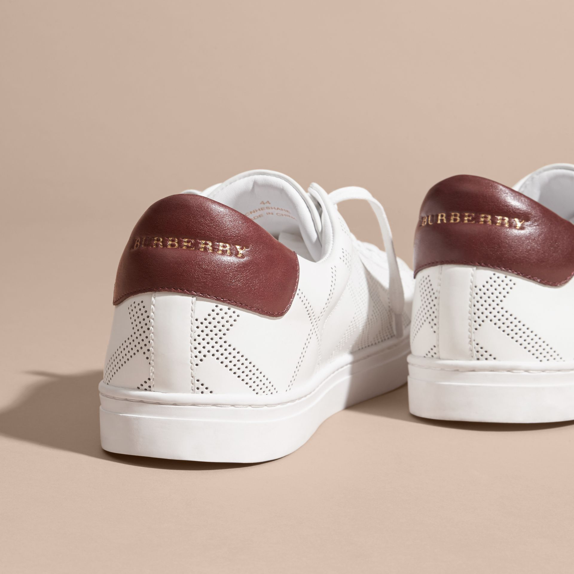 Optic whit/deep claret Perforated Check Leather Trainers Optic Whit/deep Claret - gallery image 4
