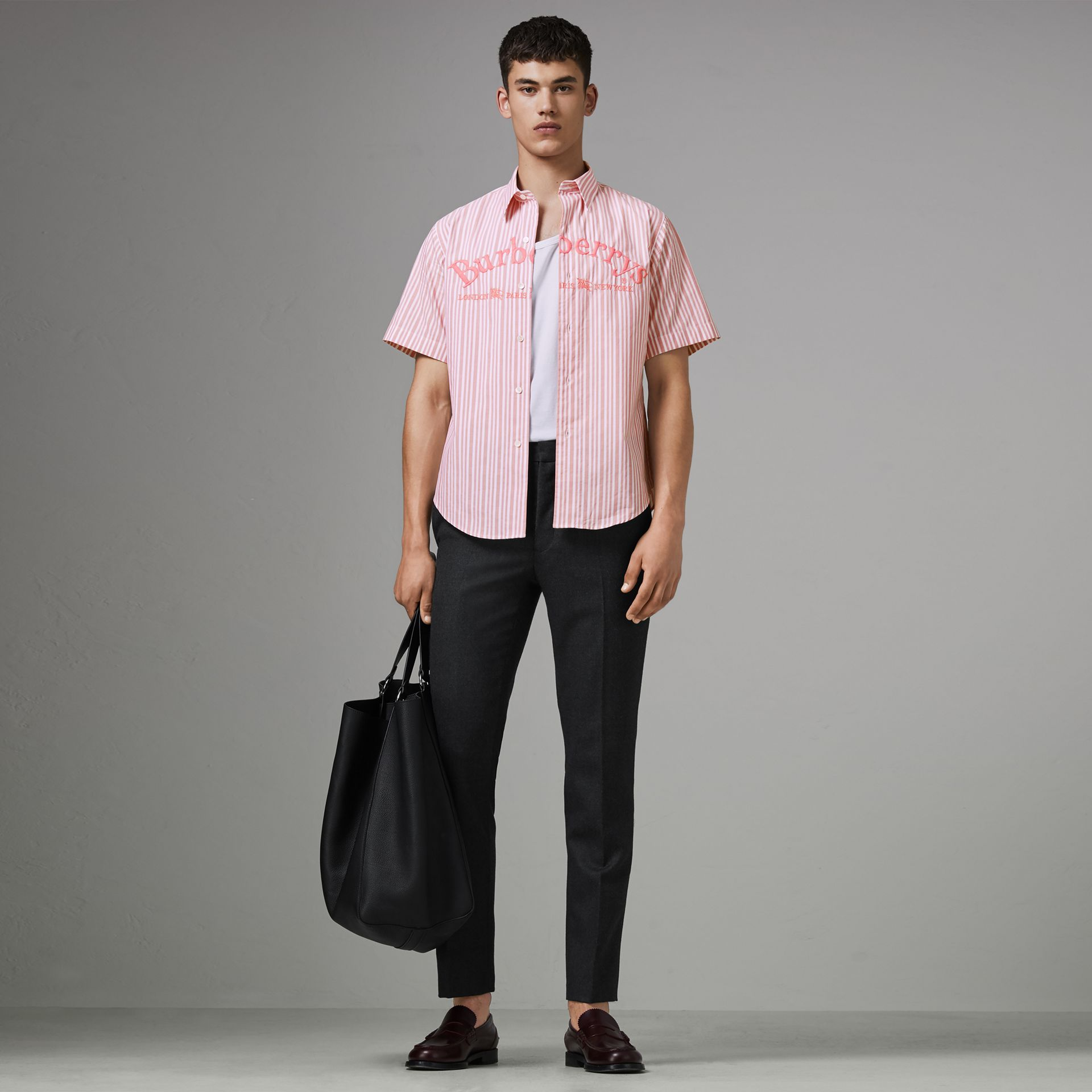Embroidered Archive Logo Striped Short-sleeve Shirt in Light Pink - Men | Burberry Australia - gallery image 0