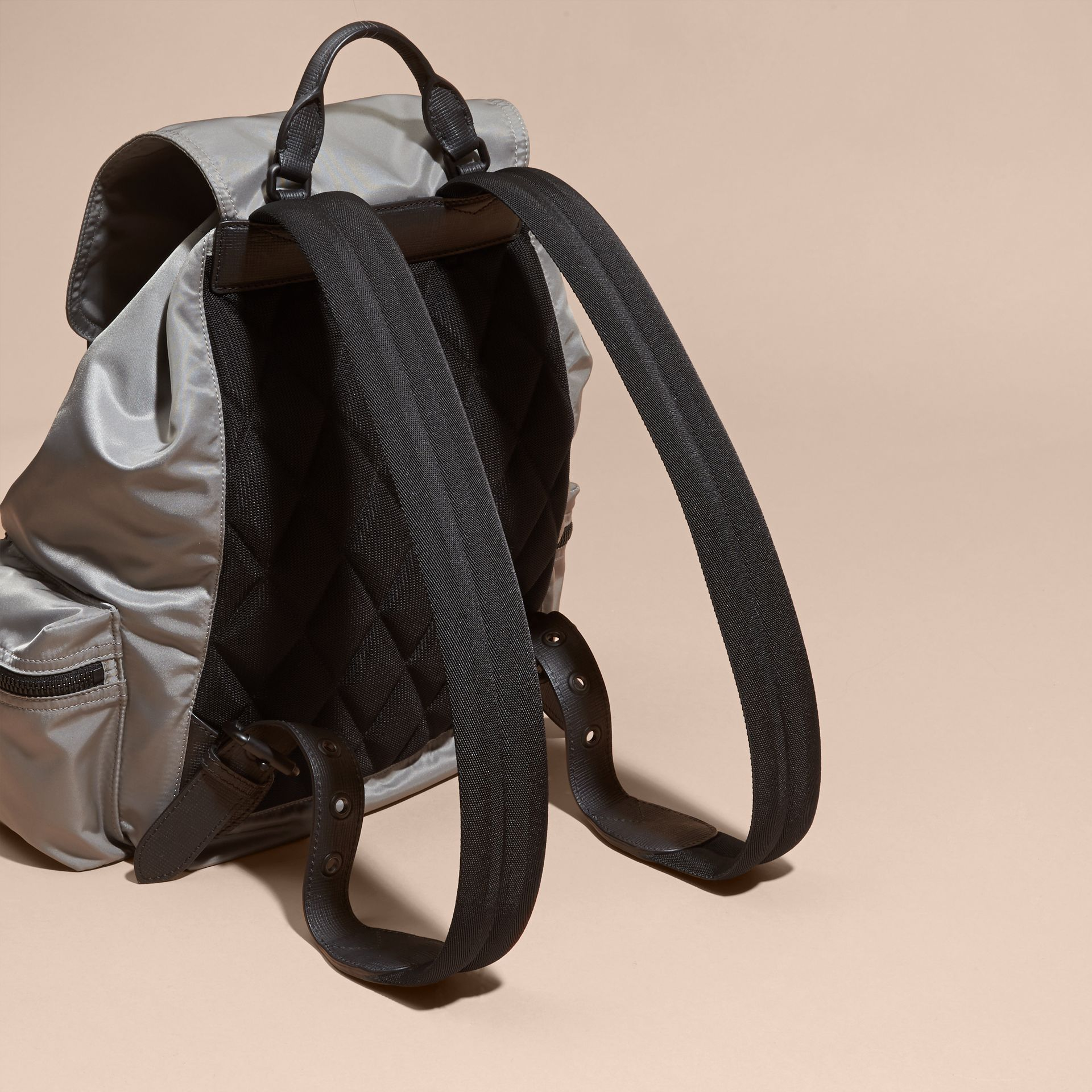 The Large Rucksack in Technical Nylon and Leather Thistle Grey - gallery image 4